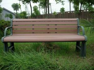China Ecological Prefab Leisure Outside WPC Bench With Steel Frame , Garden Bench Seat on sale