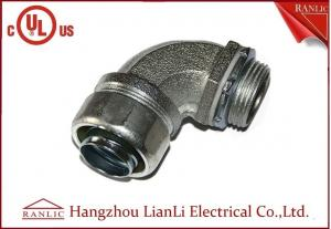 China 1/2 UL Listed Liquid Tight Malleable Iron Steel Lock Insulated Flexible Connector Galvanized 90 Degree on sale