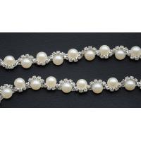 "China ""S"" Shape Crossed Clear Crystal with Pearls Embellishment Sewing Trim Rhinestones Trim Women Lace Trim on sale"