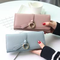Metal Circle Belt Knot Womens Credit Card Holder Wallet , Multi Functional Students PU Leather Clutch Purse