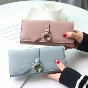 China Metal Circle Belt Knot Womens Credit Card Holder Wallet , Multi Functional Students PU Leather Clutch Purse  on sale