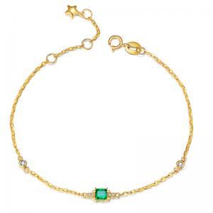China Gold And Emerald Bracelet , Custom Natural Emerald Diamond Bracelet on sale