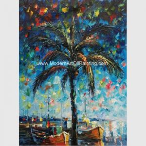 China Hand Painted Palette Knife Oil Painting Seascape Gulf of Mexico Wall Art Decoration on sale