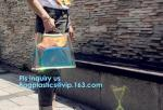 top quality transparent pvc clear handbag, PVC Handbags Custom 2pcs in 1 Set Promotional Handbags, ZIPPER tote with colo