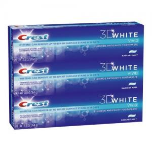 China Crest 3d White Vivid Anticavity Teeth Whitening Radiant Mint Toothpaste Triple Pack 17.4 Oz (Pack of 3) on sale