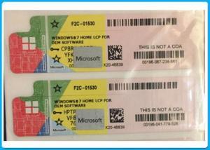 China Microsoft Computer Software System , Windows 7 Home Premium Product Key Coa Sticker on sale