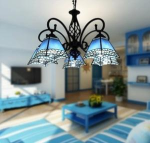 China European Mediterranean Retro style 5 Lights Living Dining Room Tiffany Lamps Chandeliers on sale