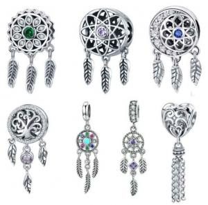 China Colorful Dreamcatcher Charm Wholesale 925 Sterling Silver Charm on sale