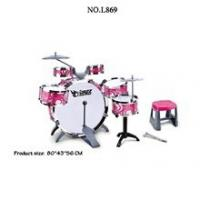 Kids Toy Musical Instrument 10 Piece Kids Drum Set w/ 6 Drums, Cymbal, Chair, Kick Pedal, Drumsticks (Pink)