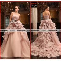 China Elie Saab Real Sample Pink Organza Wedding Gown Falbala Ball Gow Wedding Dress on sale