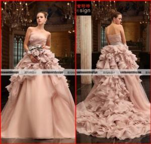 China Elie Saab Real Sample Pink Organza Wedding Gown Falbala Ball Gow Wedding Dress on sale