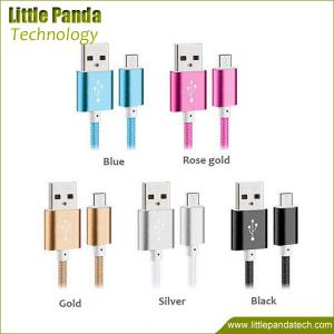 China Newest Colorful Nylon Cable and Metal Plug Micro USB Cable for All Mobile Phone on sale