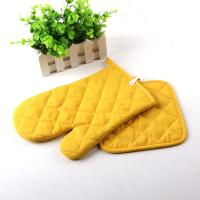Yellow Color AZO Free Customized Logo Printed Kitchen Oven Mitts / Silicone Oven Glove