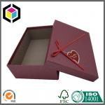 Red Ribbon Tie Gift Chipboard Packaging Box; Red Color Print Grain Rope Gift Box
