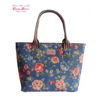 Large Volume Floral Printed Waterproof Canvas Shoulder Bag for Women