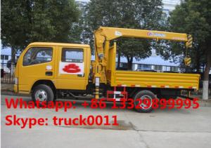China dongfeng small double rows 2.5tons truck mounted crane for sale, factory sale best price dongfeng mini truck with crane on sale