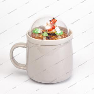 China 90mm Globe Lid Promotional Ceramic Coffee Mugs on sale