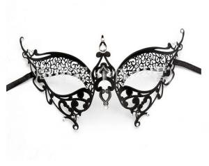 China Hot Sell Wholesale Luxury Sex Appeal Black Metal Laser Cut Masquerade Mask on sale