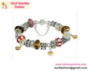 China Hot sales Fashion Silver Plated European Glass Beads Charm Bracelets LOVE charm on sale
