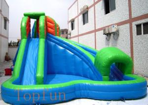 China 6 x 6m Green Inflatable Kids Water Slides 0.55mm PVC Tarpaulin With Pool on sale