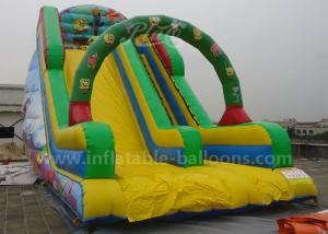 China Durable Cartoon Printing Inflatable Bouncer Slide With Climbing Steps 0.55mm Pvc on sale