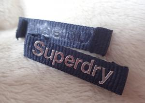 China Superdry 3D High Frequency Silver Logo Clothing Neck Label For Jackets on sale