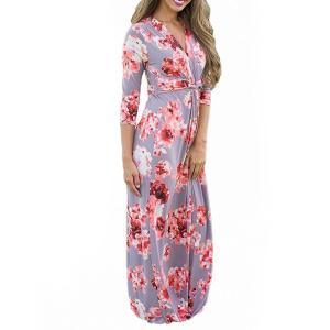 China Casual 3 4 Sleeves Summer Floral Maxi Dresses , Petite Length Maxi Dresses For Weddings on sale