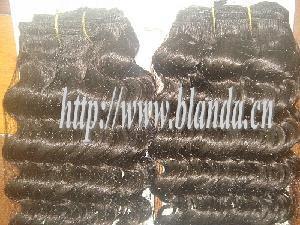 China Short Deep Curly Virgin Brazilian Knited Human Hair Weaving on sale