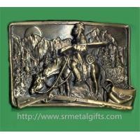 Antique brass embossed cowboy hunter metal belt buckle, vintage cowboy belt buckles,