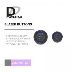 China Large Black And Blue Mens Blazer Buttons , Decorative Design 4 Hole Buttons on sale