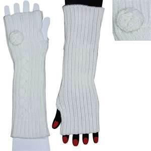 China Runners Winter Thumb Hole Knit Hand Arm Warmer Fingerless Long Gloves on sale