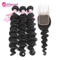 Brazilian Human Hair Bundles With Closure Loose Deep Wave Weave Hair