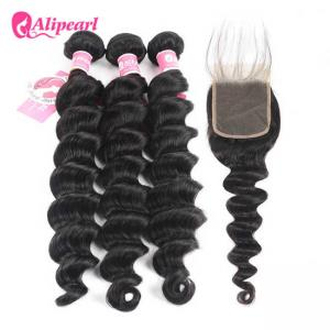 China Brazilian Human Hair Bundles With Closure Loose Deep Wave Weave Hair on sale