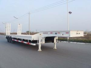 China Drop Deck Low Flatbed Trailer For Vessels Transport , Flat Bed Semi Trailer on sale