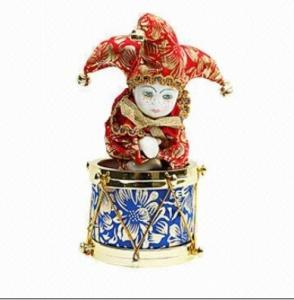 China 20cm Triangel Porcelain Doll with Rotating Ring Music Box on sale