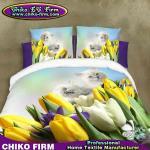 Ensemble pur de literie de fleur du polyester 3D de conception jaune et blanche de tulipes