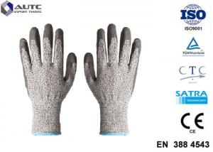 China Elastic Seamless Knit Industrial Safety Hand Gloves 3 Gauge HPPE Liner PU Coated on sale