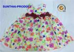 3D Bows Little Girl Cotton Dresses , Sleeveless Floral AOP Kids Summer Dresses
