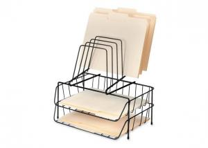 China Iron Wire Metal Magazine Stand , Two File Office Table Top Wire Display Racks on sale