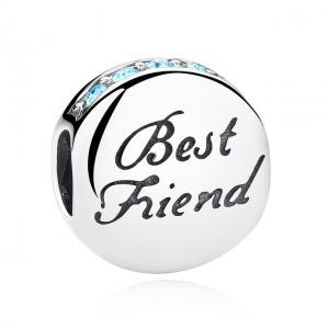 China Blue CZ 100% 925 Sterling Silver Charms with Best Friend Engraved For Friendship Gift on sale