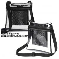 China Clear Sling Bag PVC Tote Bag With Interior Mesh Bag And Shoulder Strap,Clear PVC large handbag with small pouch on sale
