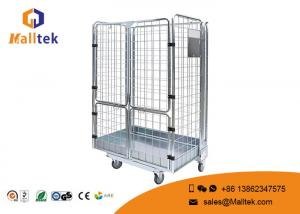 China Collapsible Storage Roll Container Trolley Save Space Open Wire Mesh Design on sale