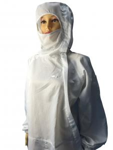 China Biotech / Pharmaceutical ESD Safe Materials Cleanroom ESD Suit With Hood And Facemask on sale