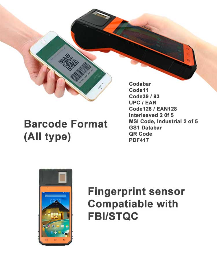 FP09 Warehouse Barcode Scanner Biometric Android POS Printer