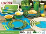 Food Grade Safe Bamboo Tableware Set Contrast Blue And Green Color Smooth Surface