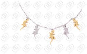 China Stainless Steel Necklace Chain With Silver and Gold Plated Charms on sale