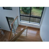 Frameless Stainless Steel Glass Railing Handrail Modern Style With Wood Hand Rail