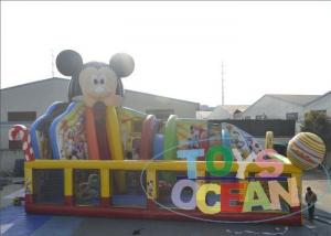 China Colored Bouncy Castle Playground For Kids / Mickey Mouse Inflatable Bounce House on sale