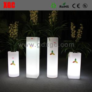 China Wholesales colored indoor outdoor decoration self watering plastic planter flower pot With Bright Color Led on sale