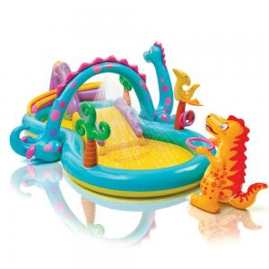 China Dinosaur Kids Play Center Inflatable Paddling Pool With Soft Slide 0.25mm Thickness on sale